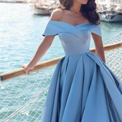 Blue Prom Dresses,Off-the-shoulder ..