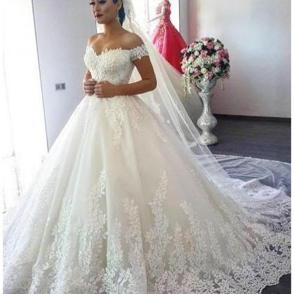 Off White Wedding Dresses,Modest Bridal Gown,Ball Gown Wedding ...