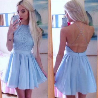 Sexy A-Line Short Prom Dress, Blue ..