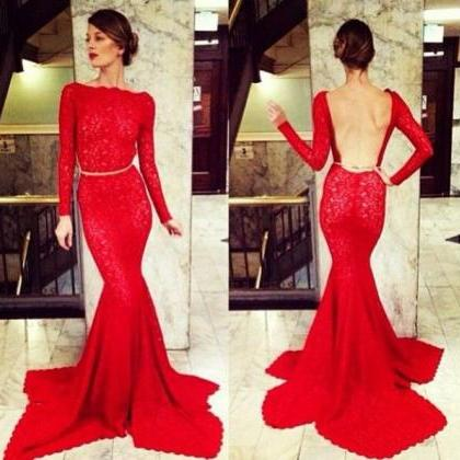 Hot Sales Red Lace Mermaid Long Pro..