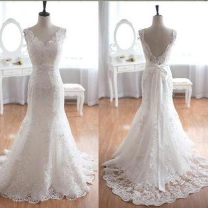 White Lace Mermaid Wedding Dresses,..
