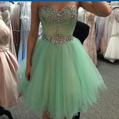A Line Sweetheart Mint Tulle Homeco..