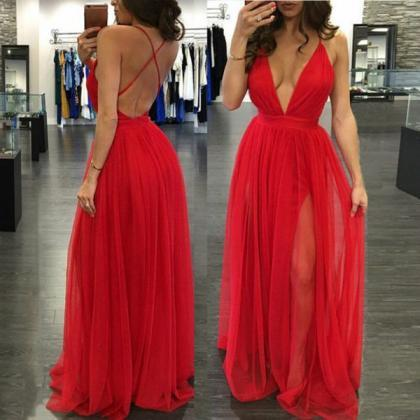 Backless Prom Dresses,Red Long Prom..