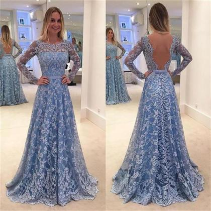 Lace Prom Dresses, Long Sleeves Pro..