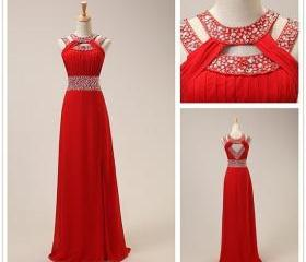 Fashion Red Chiffon ..