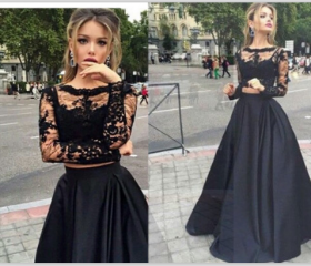 Long Sleeves Black Lace Prom Gowns,High