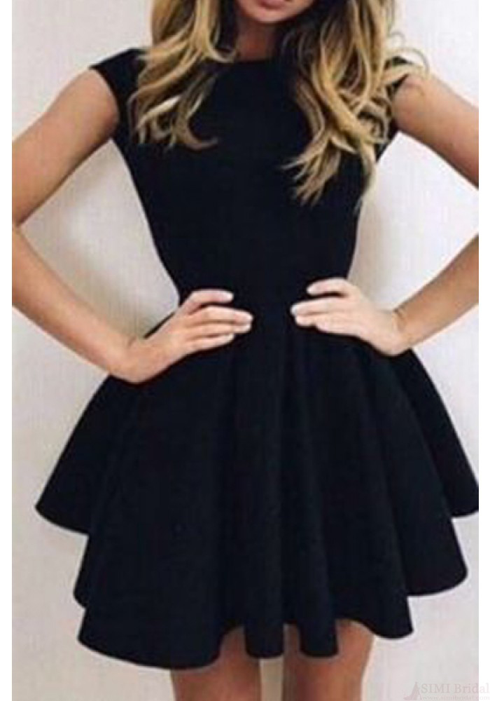 Black Homecoming Dresses,Round Neck Homecoming Dresses,Backless Homecoming Dress,Short Homecoming Dress, Black Cocktail Dresses,Homecoming Dress HD019