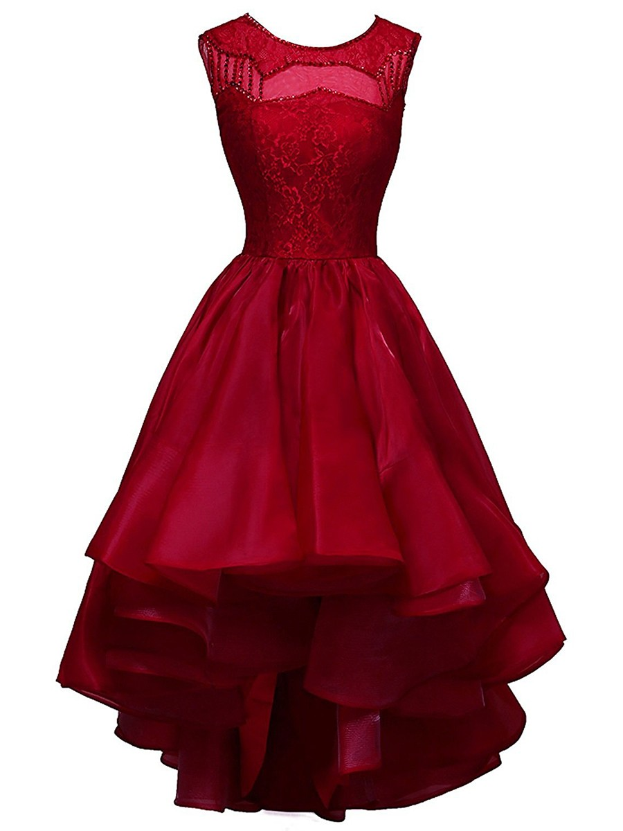 A-line Prom Dresses, Scoop Neck Prom Dress,Organza Prom Dresses,Lace Prom Dress,Asymmetrical Prom Dresses,Sequins Prom Dress,Burgundy Prom Dresses,Midi Prom Dresses,Prom Dress