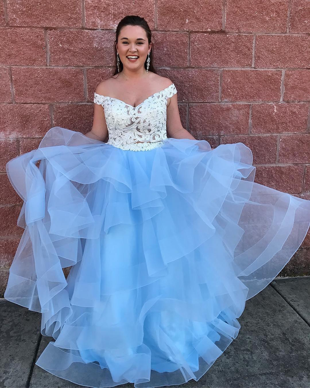 Off Shoulder Prom Dress,White And Blue Prom Gown,Long Prom Dress ...