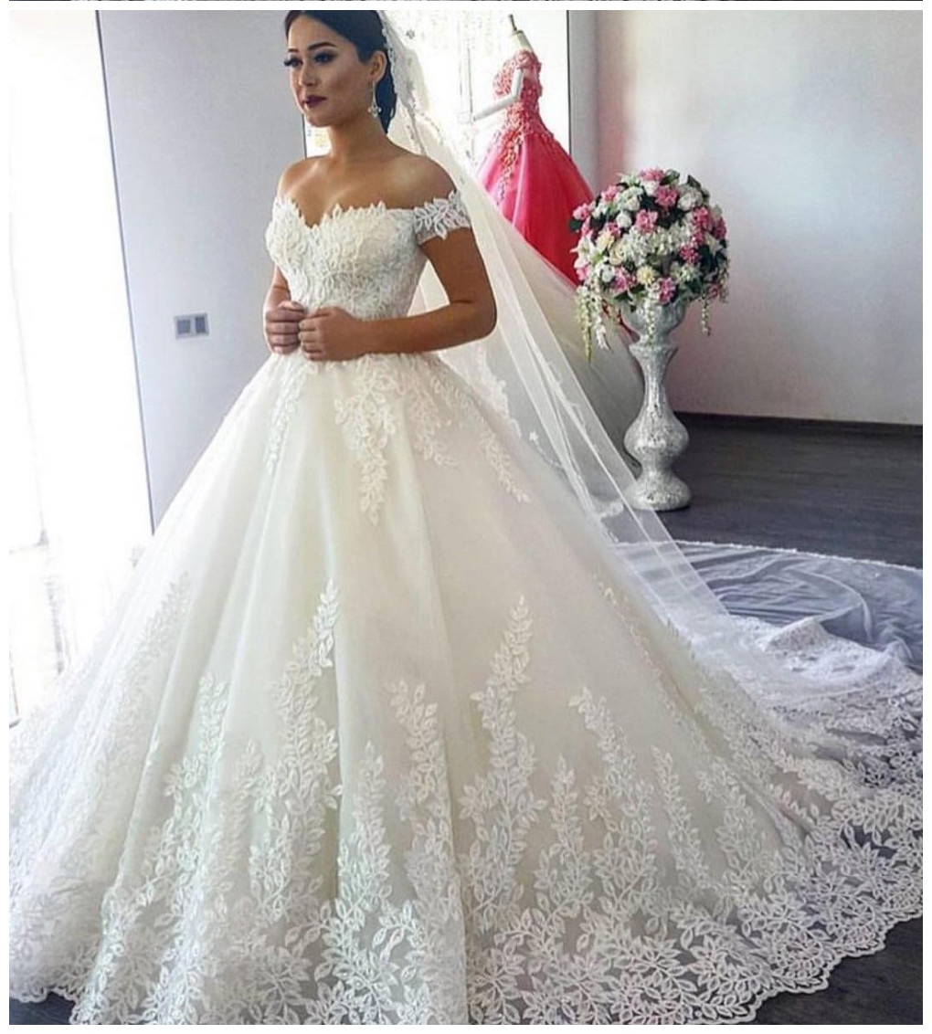 Off White Wedding Dresses,Modest Bridal Gown,Ball Gown Wedding Dresses,Off  The Shoulder Wedding Dress,Romantic Wedding Dresses WD62