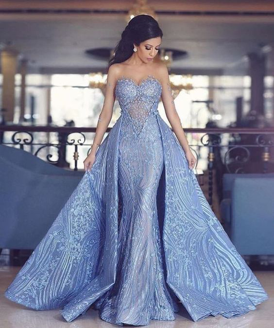 Elegant Prom Dresses,Sweetheart Prom Gown,Mermaid Prom Dresses,,Prom Dress With Detachable Train,Fashion Evening Dresses,Blue Party Dress DS133