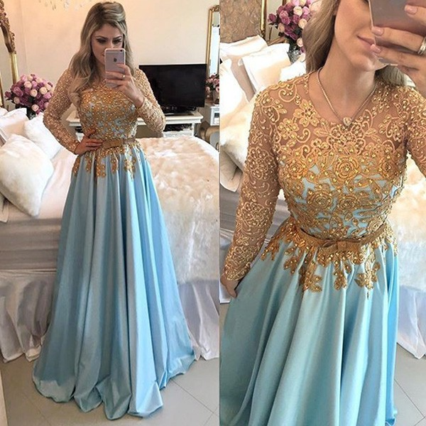 Long Sleeves Prom Dresses,Cheap Prom Dress,Long Prom Dresses,Beading ...