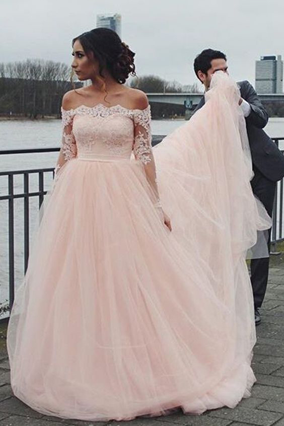 Pink Wedding Dresses Ball Gown Dress Long Sleeves Prom Tulle Ds222
