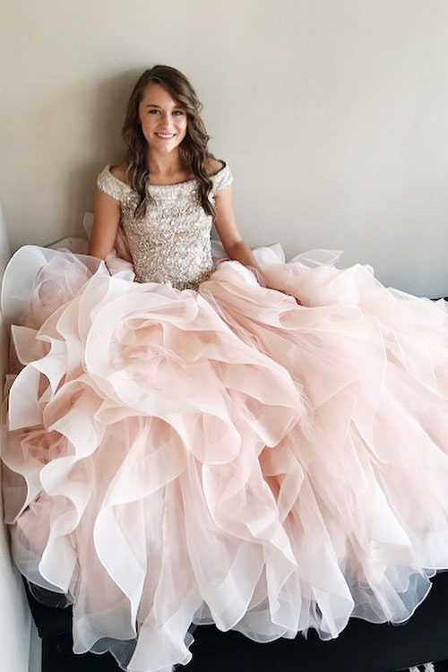 Pretty Ball Gown,Off-Shoulder Prom Dress,Light Pink Prom Dresses ...