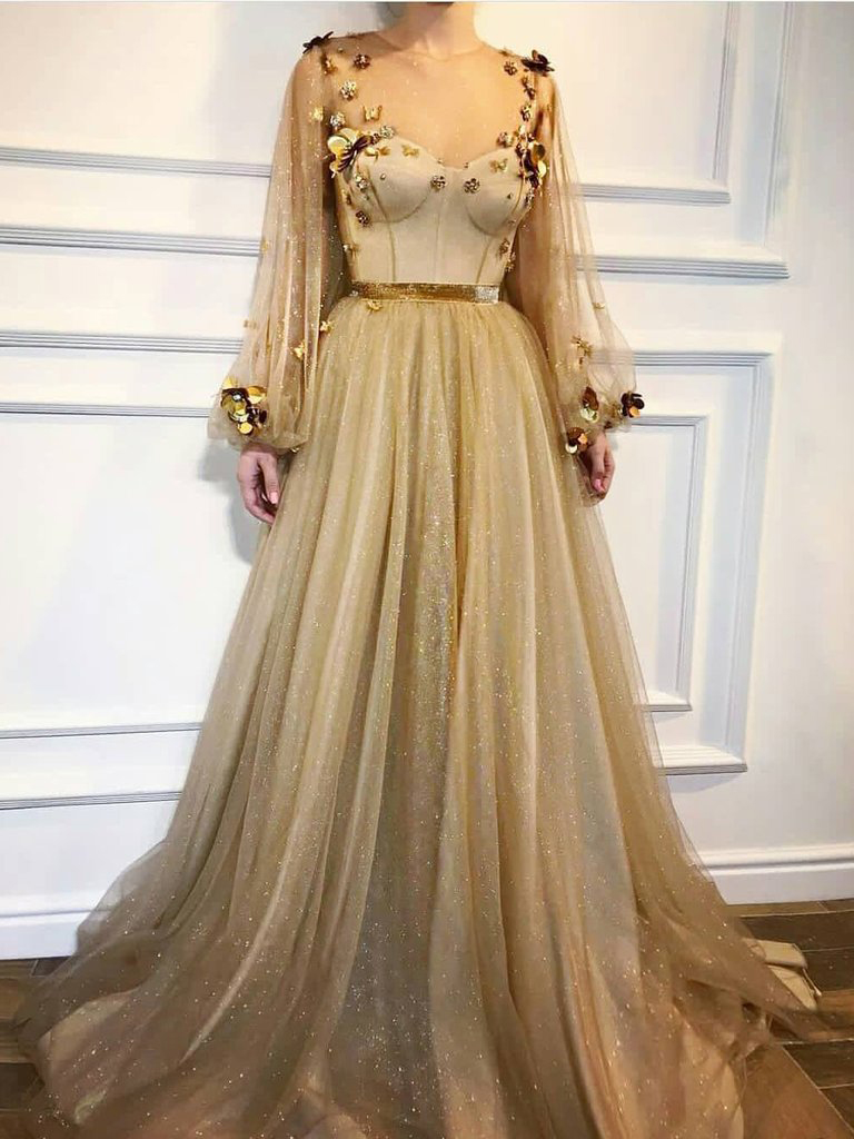 a1598d7be Chic Prom Dresses,A-line Prom Dress,Scoop Prom Dresses,Long Sleeve Prom  Dress,Gold Prom Dresses,Long Prom Dress DS274