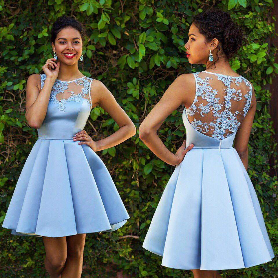 Sky Blue Homecoming Dresses,Lace Homecoming Dress,Sexy Homecoming Dresses,Short Prom Dress,Satin Cocktail Dresses DS305
