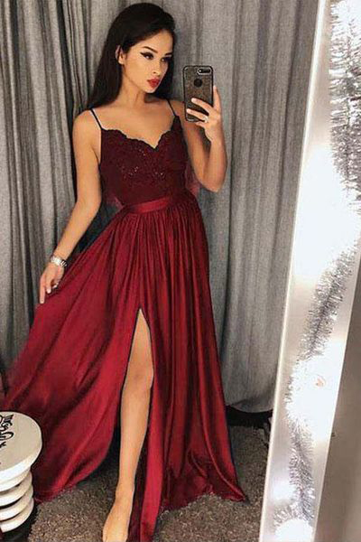 f1e9703bdedb Burgundy Evening Gowns,Long Formal Dresses,Straps Prom Dresses,Split Evening  Gown,
