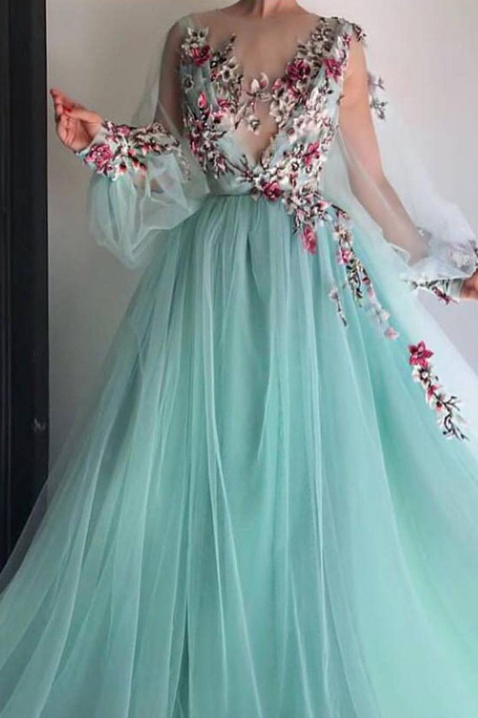 b08df7dc4e7e Princess Prom Dresses, Long Sleeves Prom Dresses,Floral Applique Prom Dress,Puffy  Sleeves