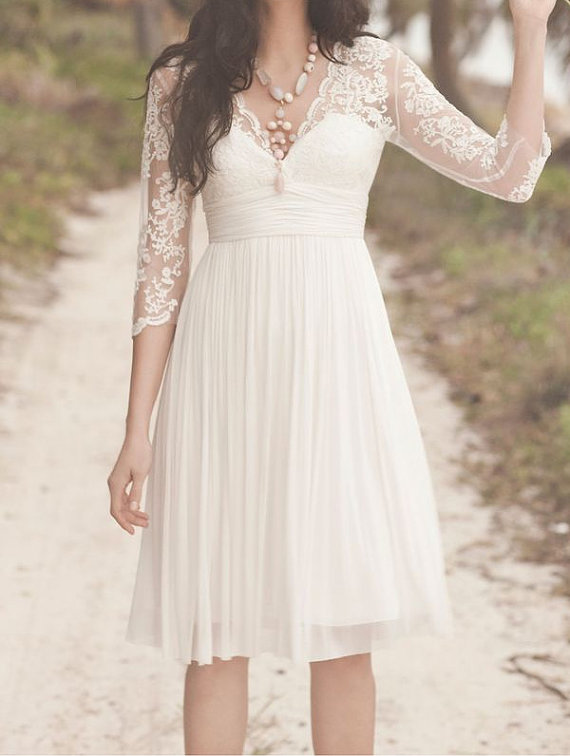 528dde65d8 3 4 Long Sleeves Lace Chiffon V Neck Short Wedding Dress
