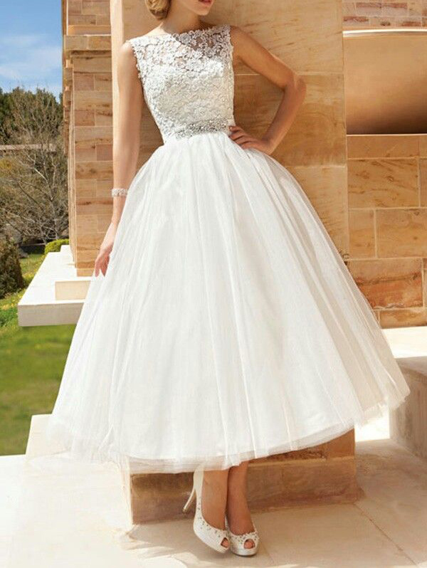 79cef1a51e58e High neck lace tulle tea length wedding gown,open back custom made short wedding  dress