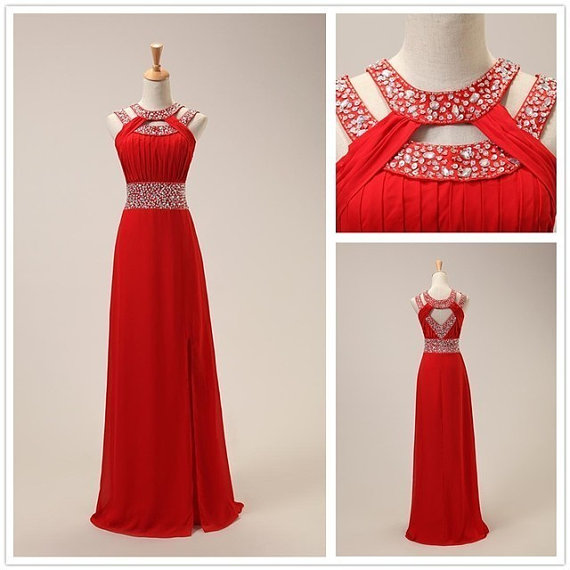 Fashion Red Chiffon Front Split Long Prom Dress,Beaded Crystal High Neck Evening Dress,A Line Open Back Evening Prom Gowns,Off The Shoulder Prom Dresses,Graduation Dress PD054