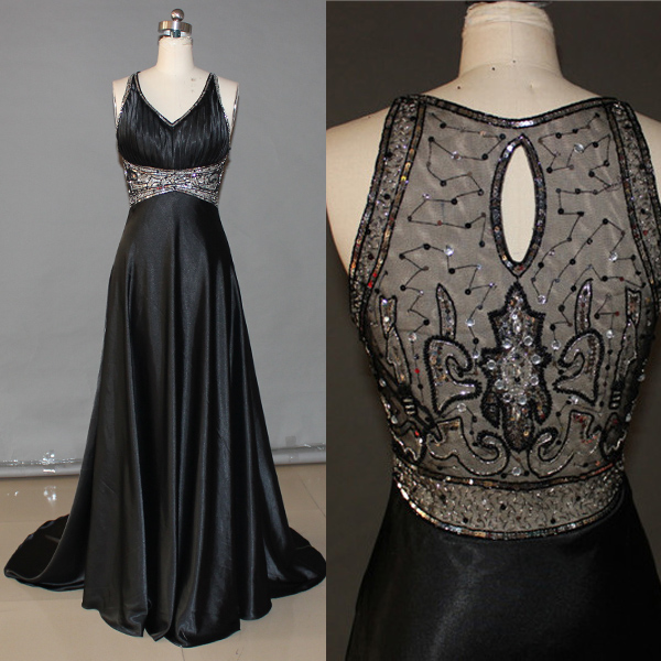d6db814caf74 Sexy See Through Black Long Prom Dress, V Neck Off The Shoulder Crystal  Formal Evening