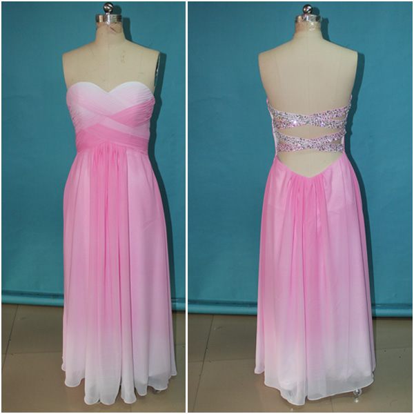 Open Back Pink Ombre Chiffon Sexy Long Prom Dress,Backless Beadings Cheap Evening Prom Gown,Sweetheart Ombre Bridesmaid Dress,Custom Made Gradient Women Prom Dresses