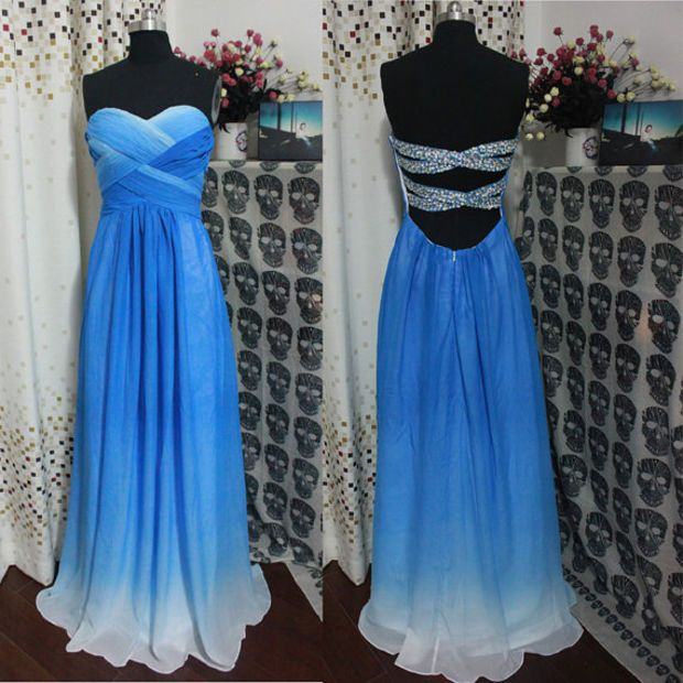 52a2a24c83e A-line Sweetheart Royal Blue Ombre Prom Dress