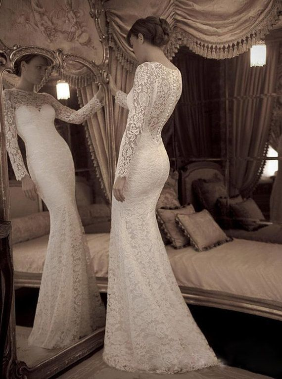 Y Long Sleeves High Neck Ivory Lace Mermaid Wedding Dress See Through Trumpet Bridal Dresses Handmade Gown Prom