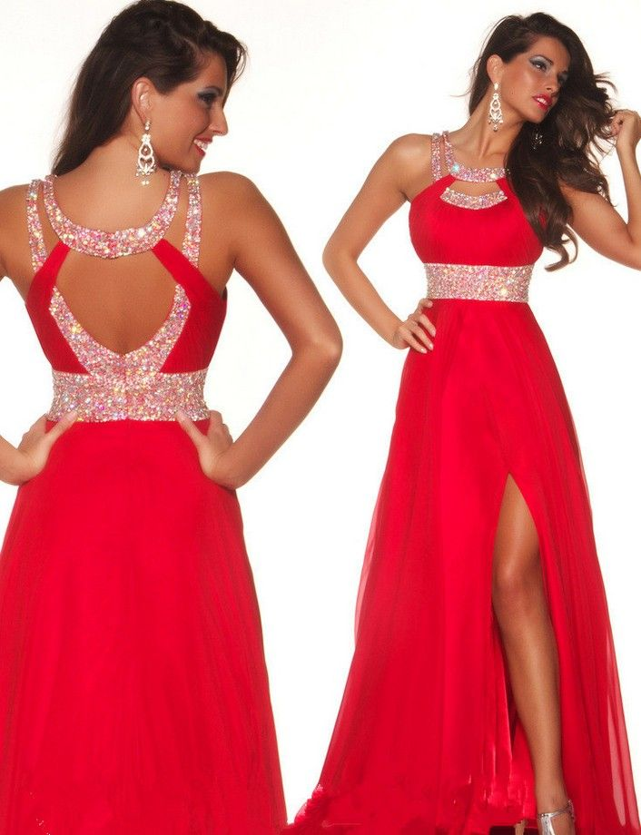 Top Selling A-Line Red Chiffon Backless Front Split Long Prom Dress ... 7b58a7f99d03