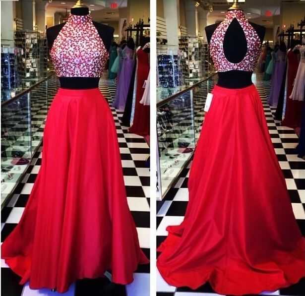 0e47dde64bb83 Two Piece Prom Dresses 2015 Open Back Red Sexy Crystal High Neck Taffeta  Mid Section Party