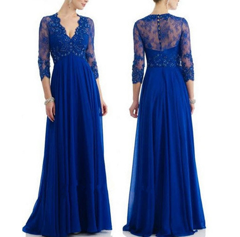 9535437e0c Royal Blue Lace Chiffon Long Sleeves V Neck Mother Of The Bridal Dress