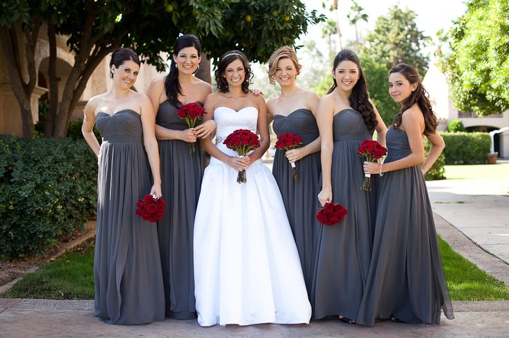 A Line Sweetheart Grey Chiffon Long Bridesmaid Dress