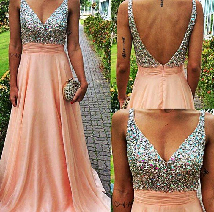 5058ffe48e Hot Saes A-Line Pink Backless V Neck Long Prom Dresses