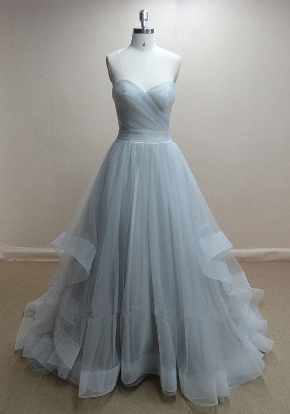 Princess A Line Sweetheart Baby Blue Tulle Ball Gown Prom Dress,High ...