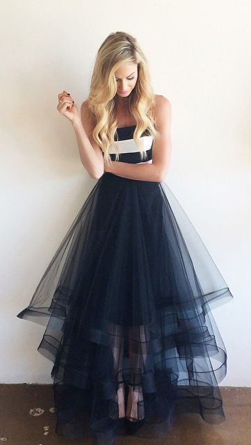 A Line Strapless Navy Blue Tulle High Low Prom Dresses Ball Gown