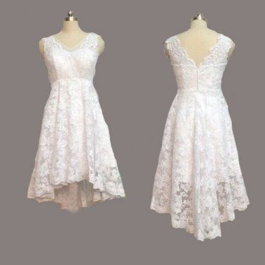 Vintage Ivory Lace Front Short Long Back Beach Wedding Dress,V