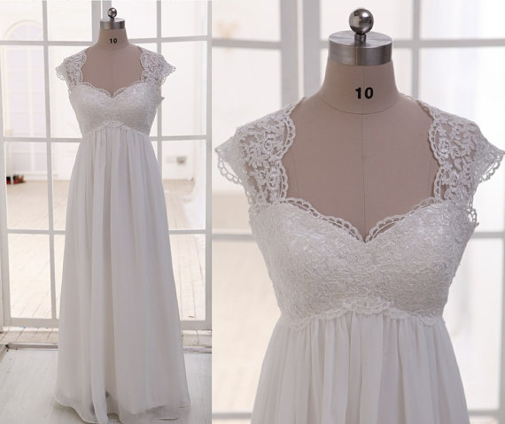 Cap Sleeves Empire Waist Lace Chiffon Beach Wedding Dress,See ...