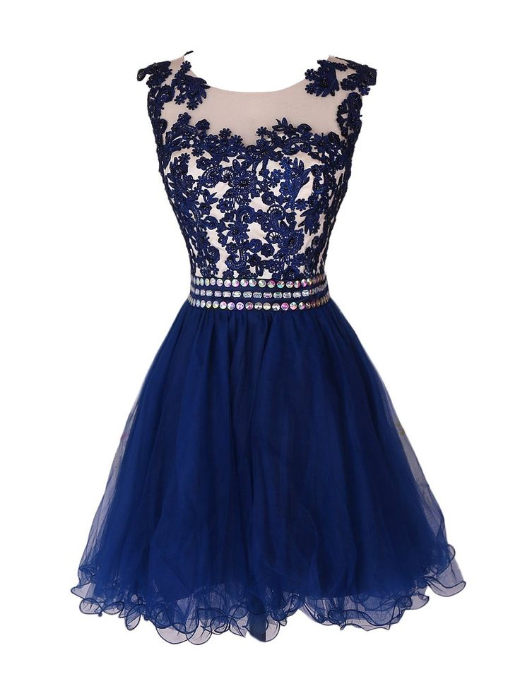 08d82deb1ef Navy Blue Lace Short Prom Dress Homecoming Dresses With Waist Beadings
