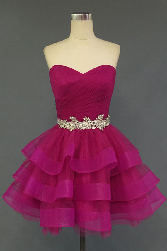 aa97a5eee082 Hot Pink Organza Sweetheart Neckline Short Prom Dress Homecoming Dresses