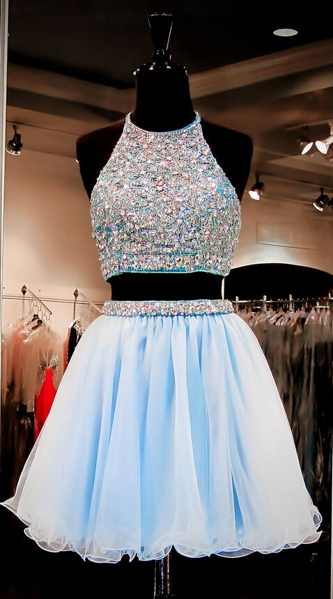 c1a2c6547ec Two Pieces Light Blue Short Prom Dresses Ball Gown