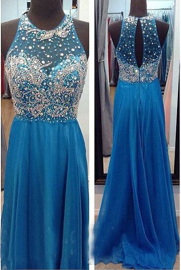 High Neck See Through O-Back Dark Blue Chiffon Long Prom Dress,Open Back Beaded Crystal A Line Bodice Sexy Evening Dresses Prom,Graduation Dress