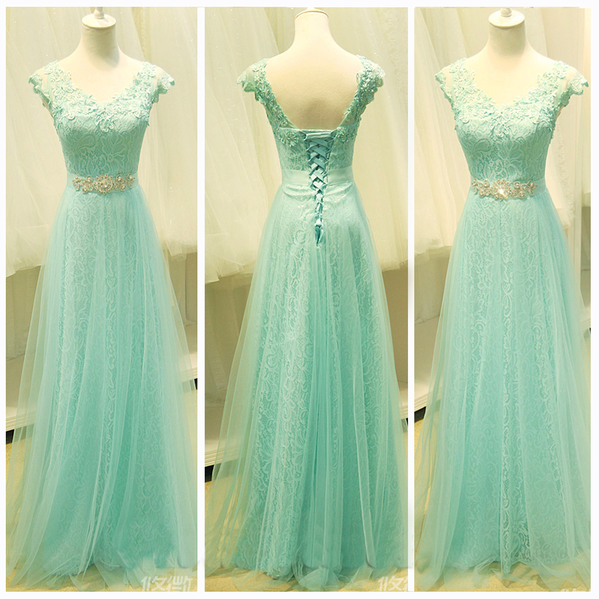 A Line Mint Lace Tulle Cap Sleeves Prom Dresses Beaded Belt V Neck Evening Gown Dress Custom Made Back Up Graduation