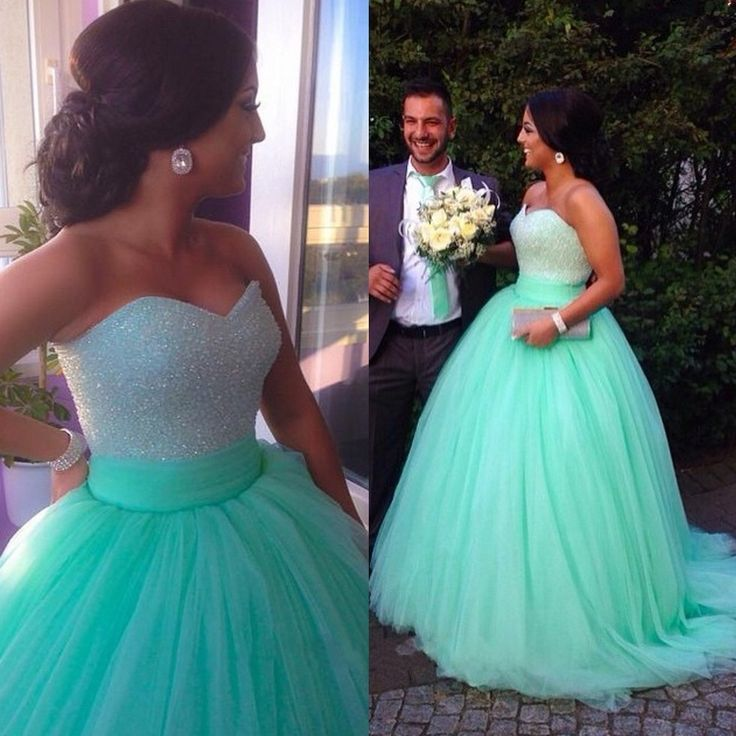 Hot Sales Empire Waist Mint Long Prom Dresses Ball Gown,A Line ...