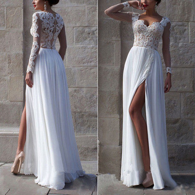 2016 New Long Sleeves White Lace Wedding Dress,V Neck See Through ...