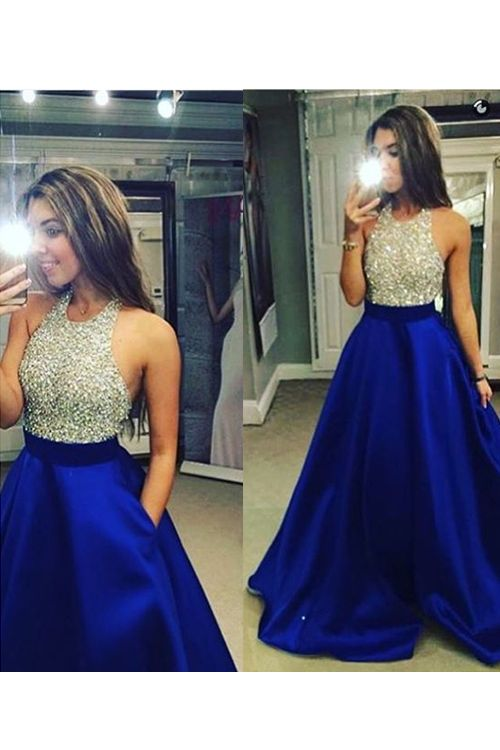 High Neck Royal Blue Long Prom Dresses fa50e2a2d