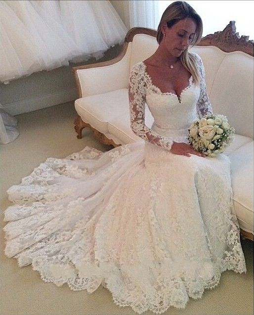 A Line Princess Lace Wedding Dresses,Long
