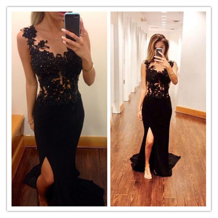 Mermaid Black Lace Long Prom Dressessee Through Front Slit Evening