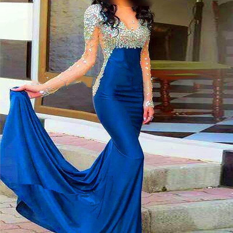Sexy See Through Long Sleeves Royal Blue Prom Dresses, High Neck Mermaid Evening Prom Dress,Beaded Wedding Party Dresses PD201