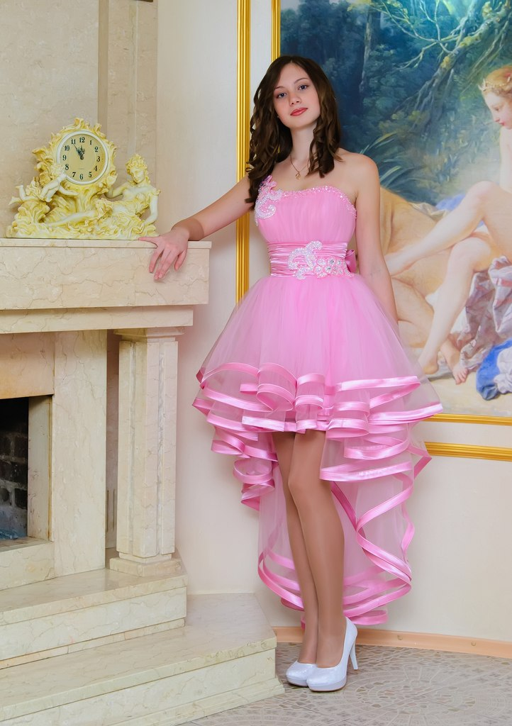 One Shoulder Hot Pink Prom Dresses,High Low Tiered Skirt Prom Gowns ...